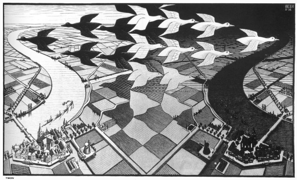 Dag en nacht van M.C. Escher