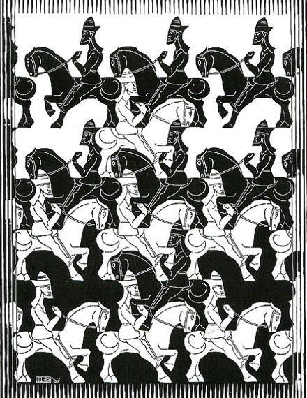 Paarden en ruiters van M.C. Escher